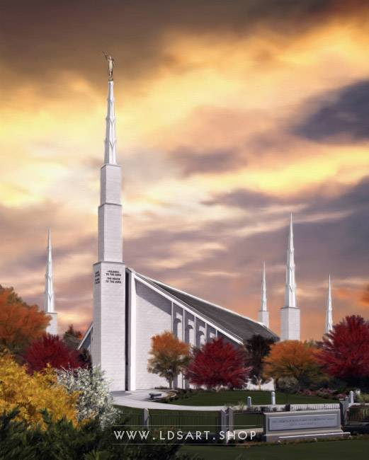Boise Temple Autumn Light – Fine Art Painting Print