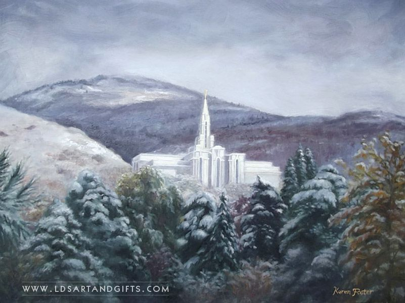 Bountiful Temple Winter Oil Painting