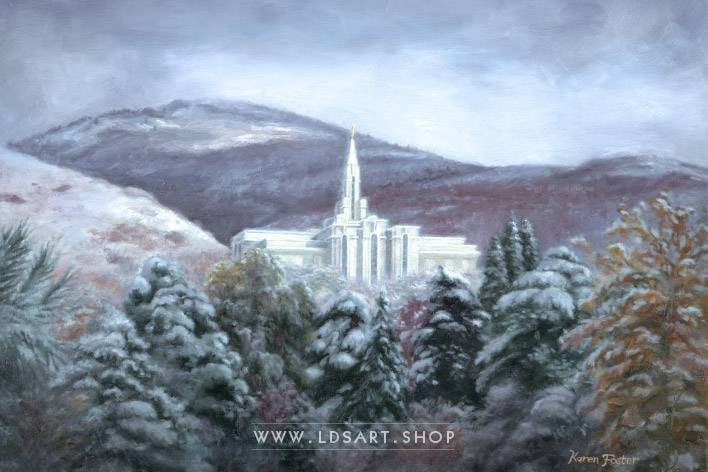 Bountiful Temple Winter – Oil Painting Print