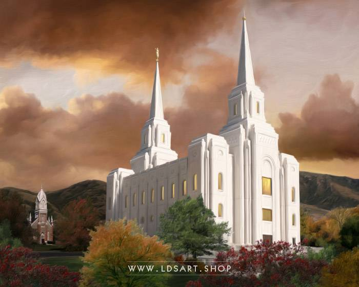 Brigham City Temple Autumn Sunset – Fine Art Painting Print