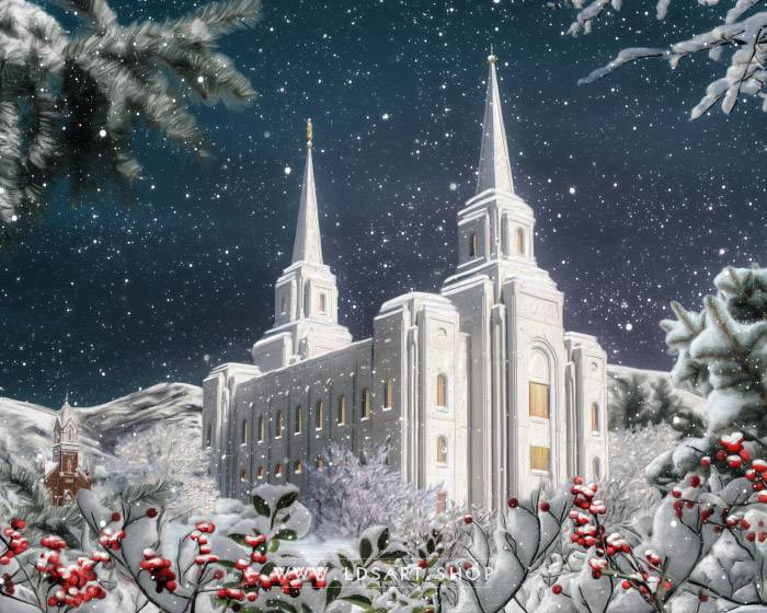 Brigham City Temple Winter Wonderland – Fine Art Painting Print