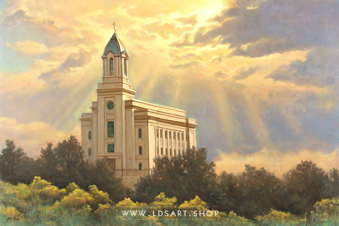 Cedar City Temple Painting – Facing Eternity by Del Parson Print