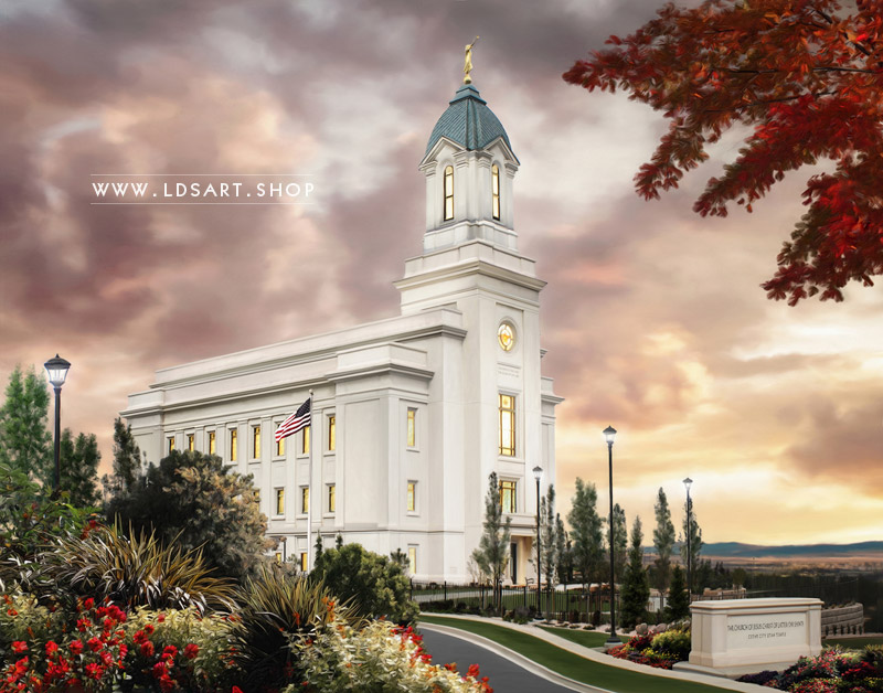 Cedar City Temple – Sunset Painting Print