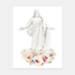 Jesus Christ - Cristus Floral Watercolor Painting