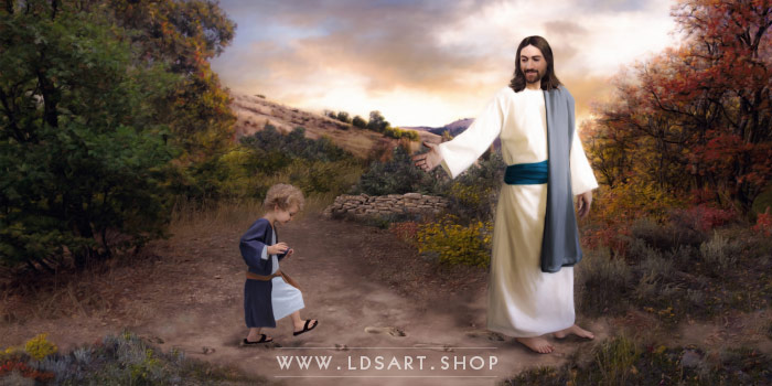 Jesus Christ – Following In His Footsteps Painting Print