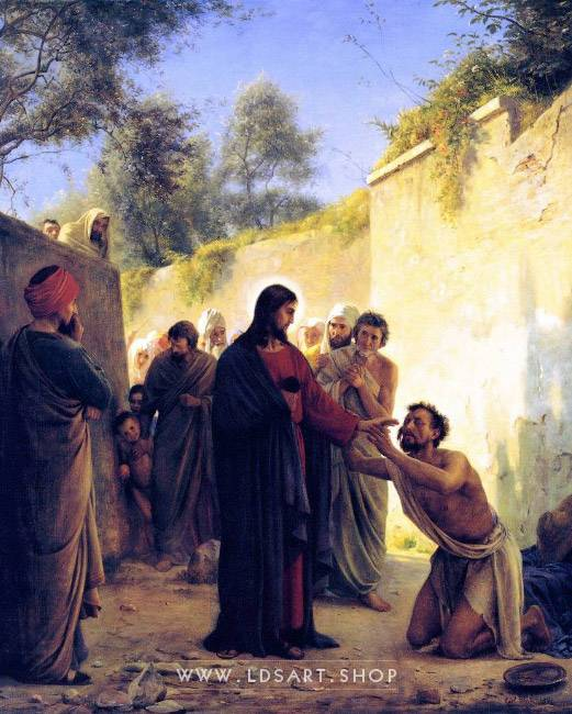 Healing of the Blind Man – Painting by Carl Bloch Print