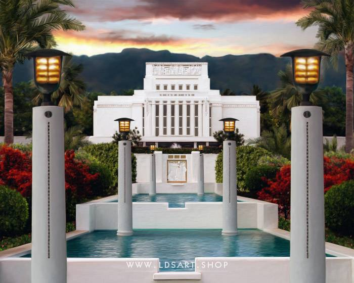 Laie Temple Summer Sunset – Fine Art Painting Print