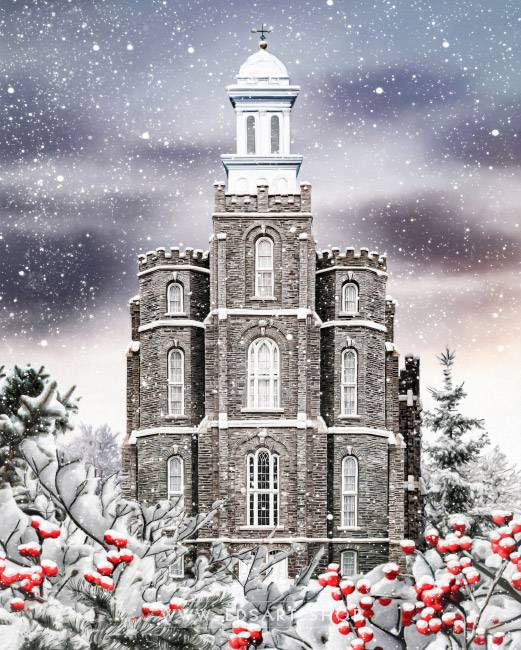 Logan Temple Winter Wonderland – Fine Art Painting Print