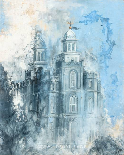 Logan Temple Winter – Fine Art Cold Wax Painting Print