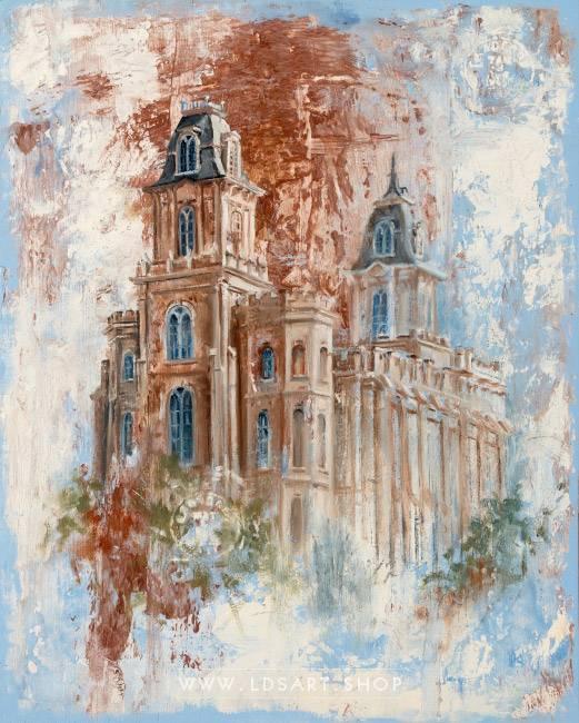 Manti Temple – Fine Art Cold Wax Painting Print
