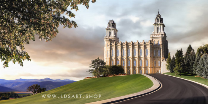 Manti Temple Summer Afternoon Panoramic – Fine Art Painting Print