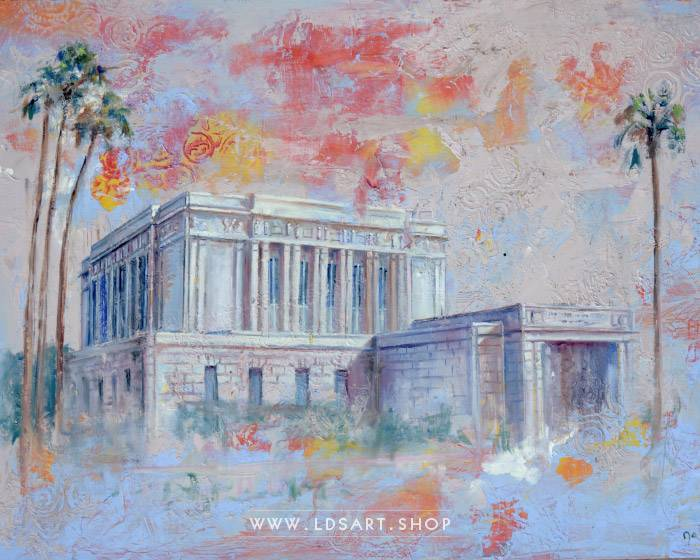 Mesa Temple – Fine Art Cold Wax Painting Print