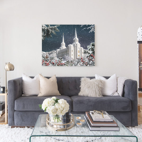 Brigham City Temple Winter Wonderland – Fine Art Painting Mockup