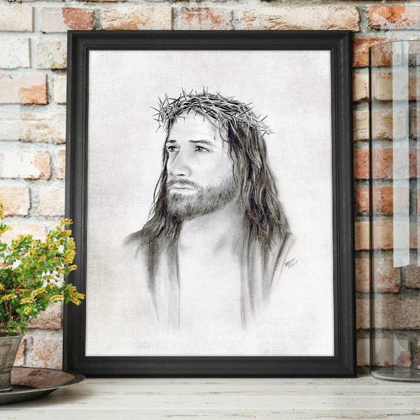 Jesus Christ – Crown of Thorns Pencil Drawing Mockup