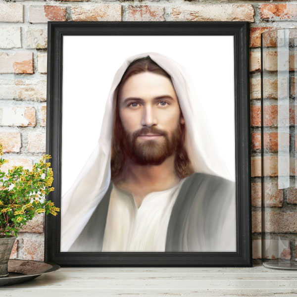 Jesus Christ – Resurrection And The Life – Painting (White Background) Mockup