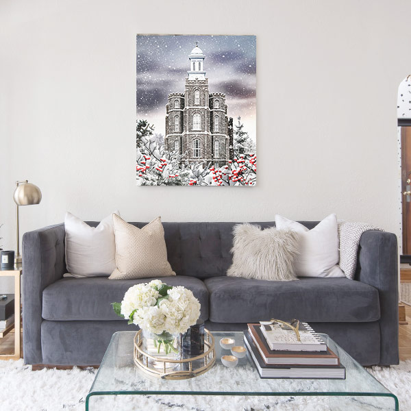 Logan Temple Winter Wonderland – Fine Art Painting Mockup