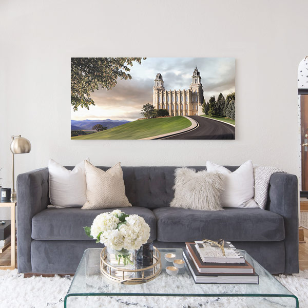 Manti Temple Summer Afternoon Panoramic – Fine Art Painting Mockup