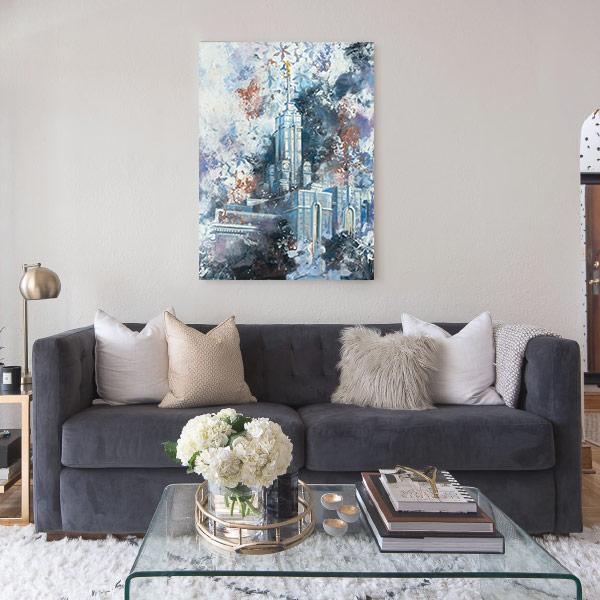 Mount Timpanogos Temple – Cold Wax Fine Art Painting Mockup