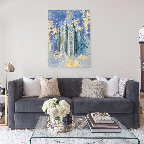 Salt Lake Temple Blue & Gold – Fine Art Cold Wax Painting Mockup
