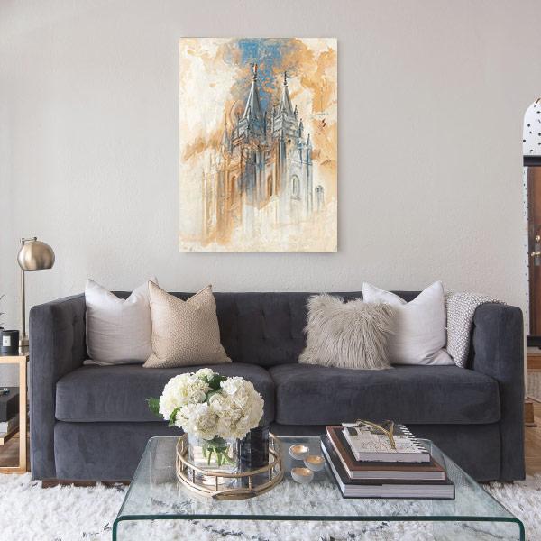 Salt Lake Temple – Fine Art Cold Wax Painting Mockup