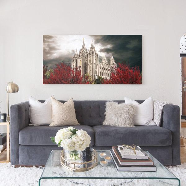 Salt Lake Temple Light in the Storm Pano – Fine Art Painting Mockup