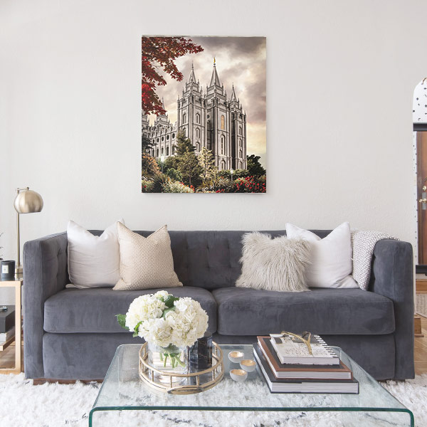 Salt Lake Temple Autumn Light – Fine Art Painting Mockup