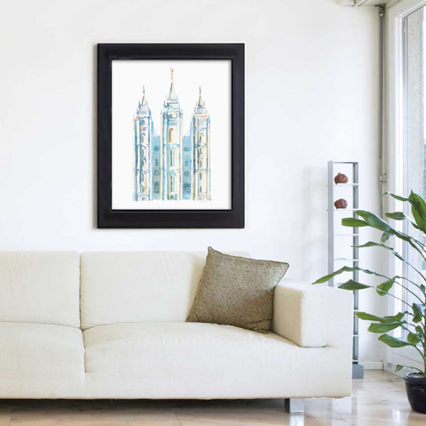 Salt Lake Temple – Watercolor Painting Blue Mockup