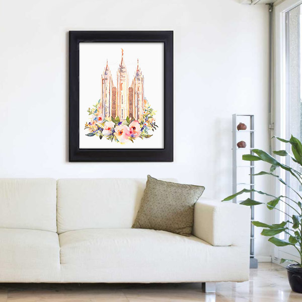 Salt Lake Temple – Watercolor Painting Floral Mockup