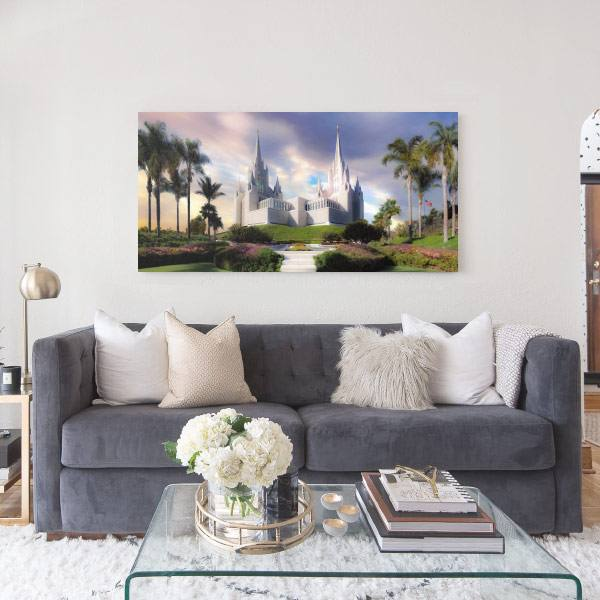 San Diego Temple – Sunset Painting Mockup