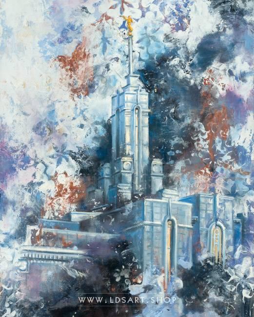 Mount Timpanogos Temple – Cold Wax Fine Art Painting Print