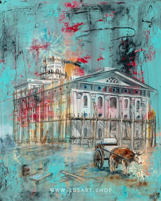 Nauvoo Temple Being Built – Fine Art Cold Wax Painting Print