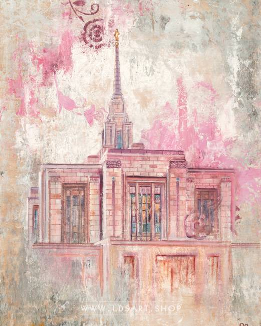 Ogden Temple – Fine Art Cold Wax Painting Print
