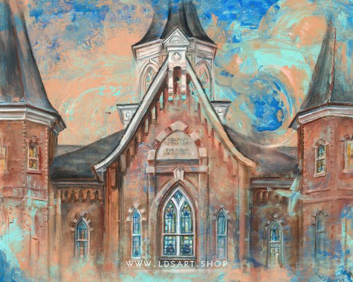 Provo City Center Temple Front Colors – Fine Art Cold Wax Painting Print