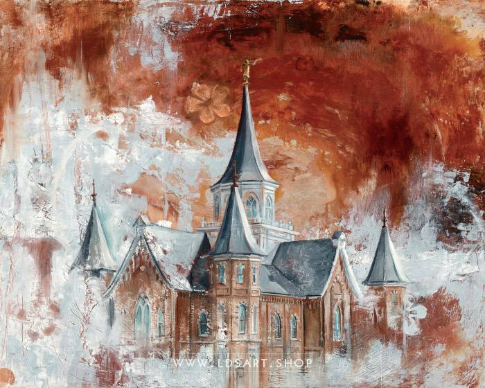 Provo City Center Temple – Fine Art Cold Wax Painting Print