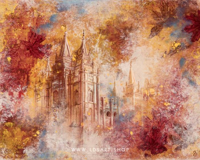 Salt Lake Temple Autumn Leaves – Fine Art Cold Wax Painting Print