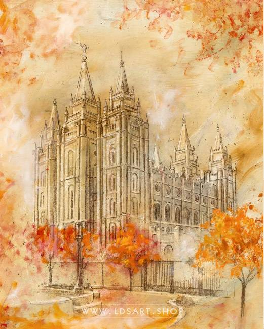 Salt Lake Temple Autumn Temple Square – Fine Art Cold Wax Painting Print