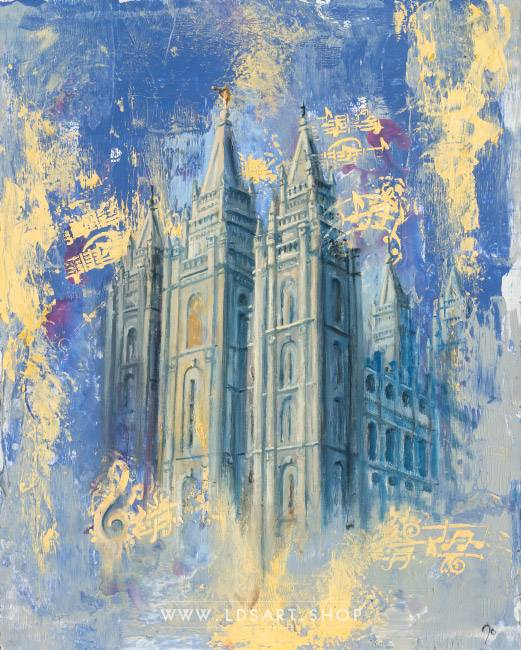 Salt Lake Temple Blue & Gold – Fine Art Cold Wax Painting Print