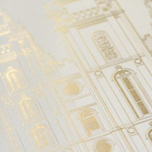 salt-lake-temple-foil-stamped-print-satin-gold-closeup