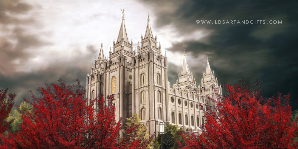 Salt Lake Temple Light In The Storm Pano Fine Art Painting Lds Art Shop