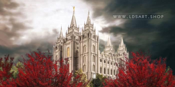 Salt Lake Temple Light in the Storm Pano – Fine Art Painting Print