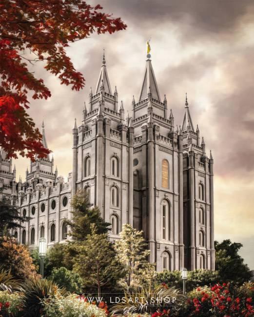 Salt Lake Temple Autumn Light – Fine Art Painting Print