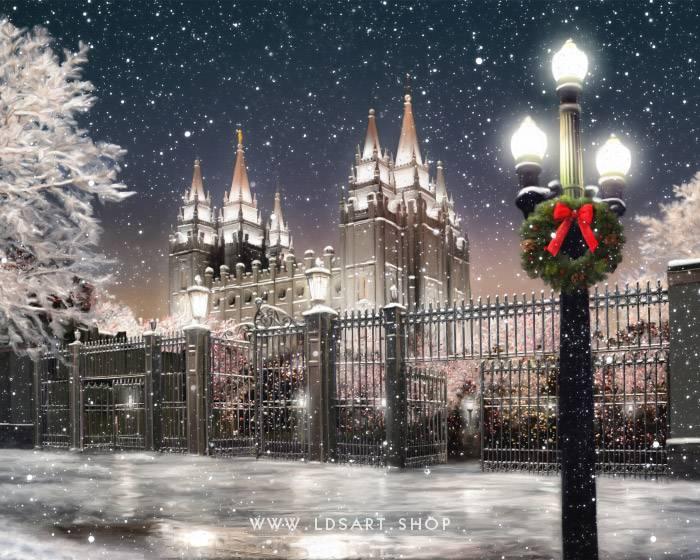 Salt Lake Temple Christmas on Temple Square – Fine Art Painting Print