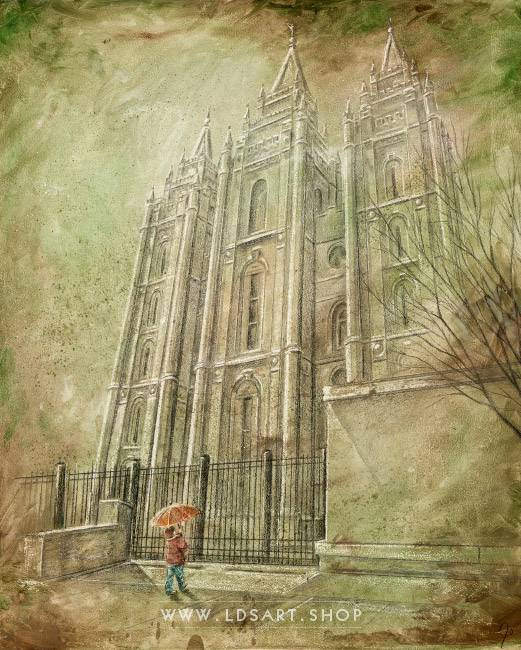 Salt Lake Temple Spring Child – Fine Art Cold Wax Painting Print