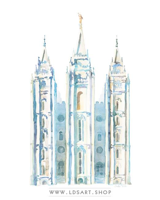 Salt Lake Temple – Watercolor Painting Blue Print