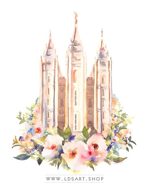 Salt Lake Temple – Watercolor Painting Floral Print