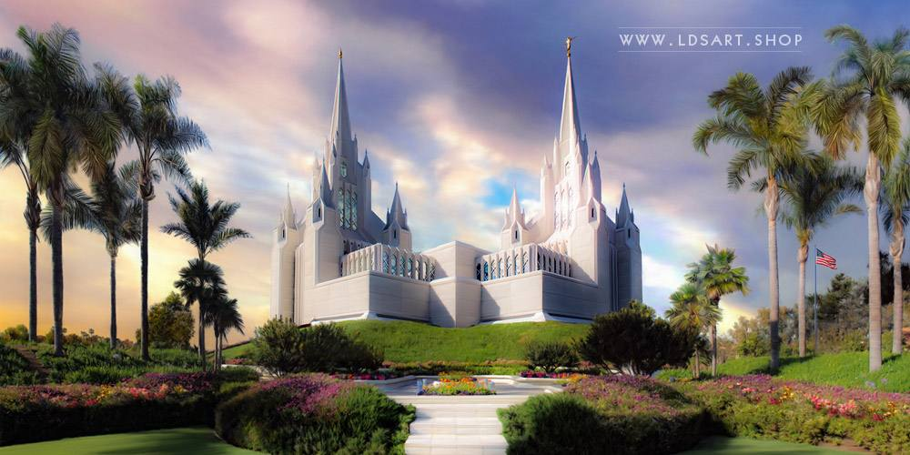 San Diego Temple – Sunset Painting Print