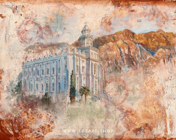St George Temple – Fine Art Cold Wax Painting Print